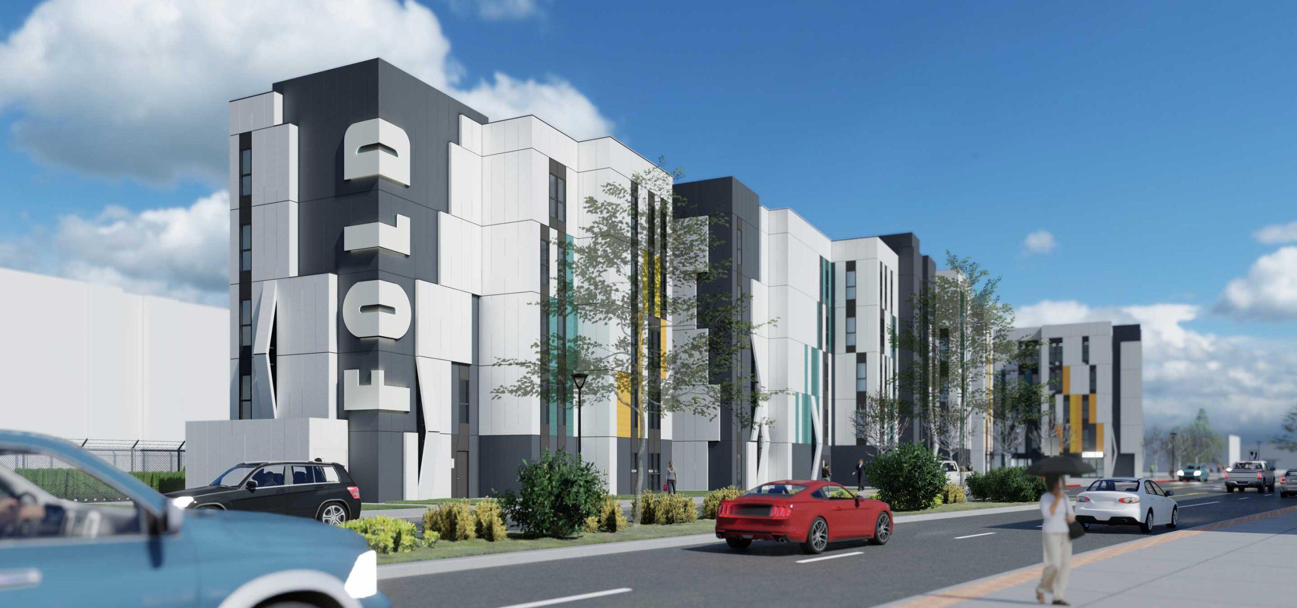 5-story modular apartment building rendering