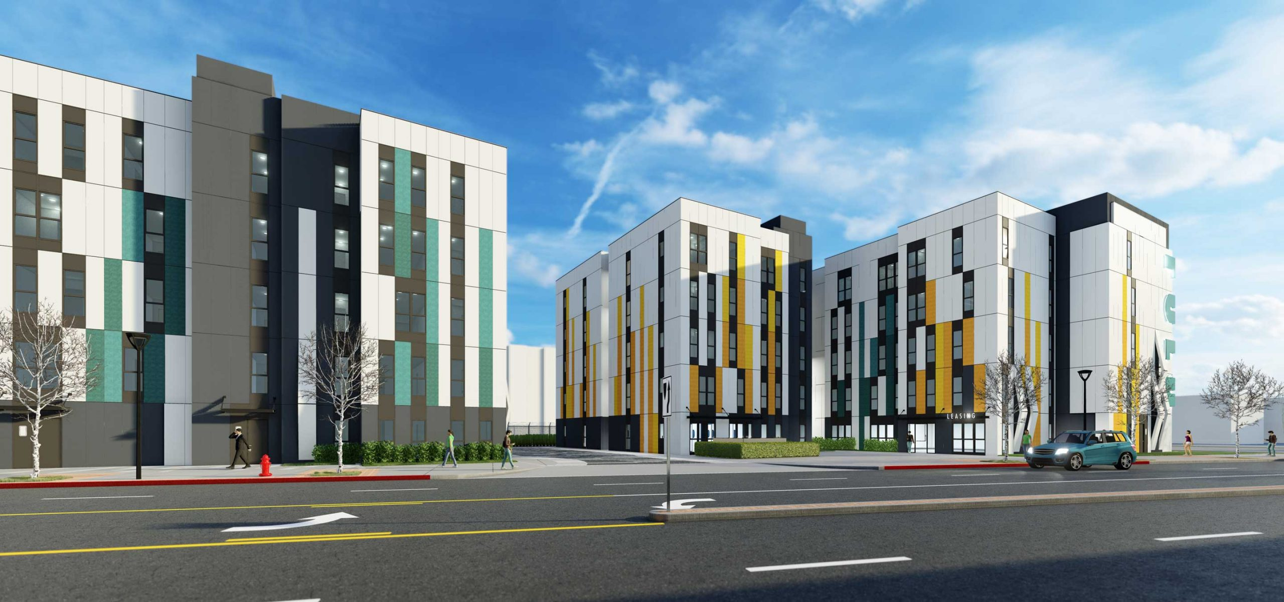 Rendering of 5-story modular apartments