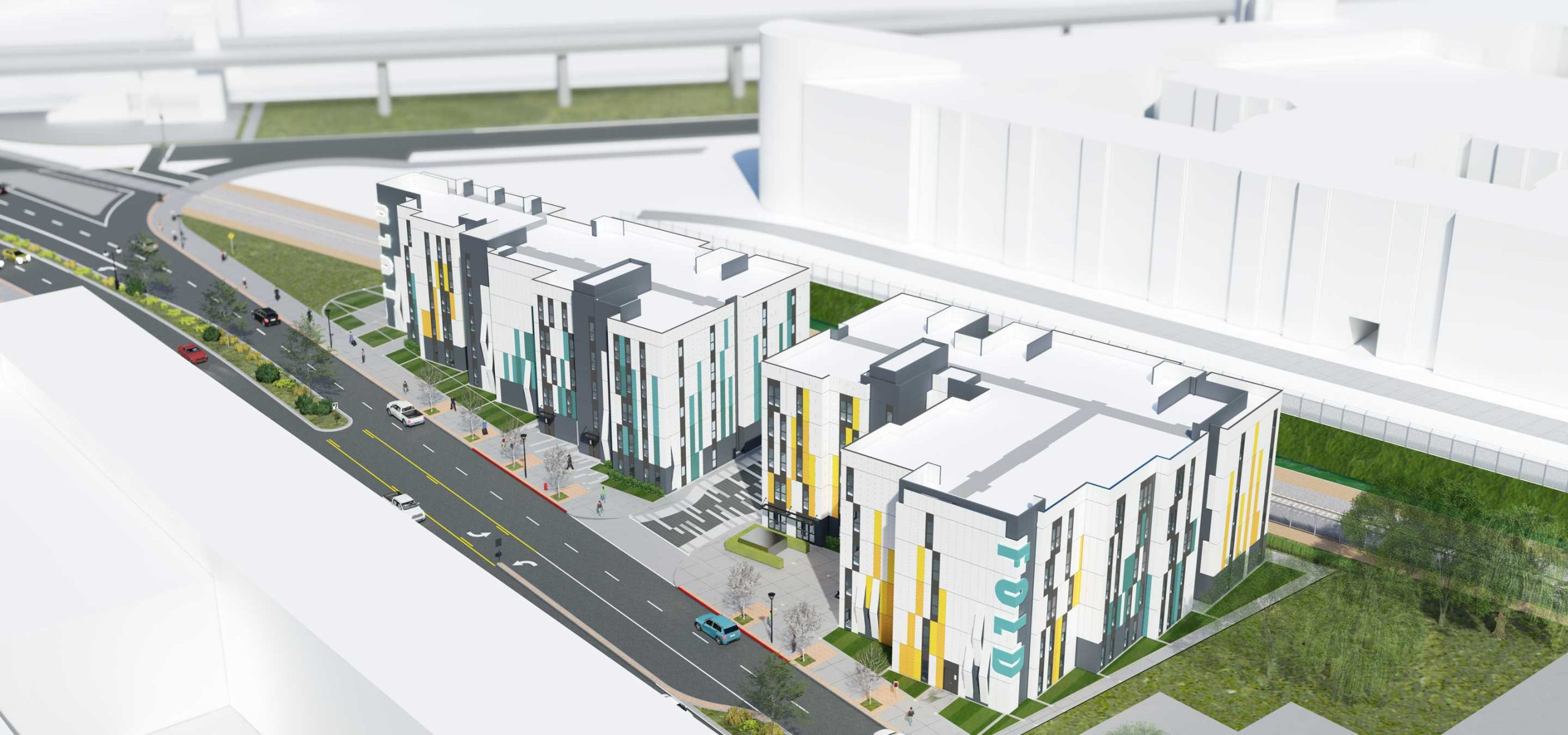 Aerial rendering of 5-story modular apartments