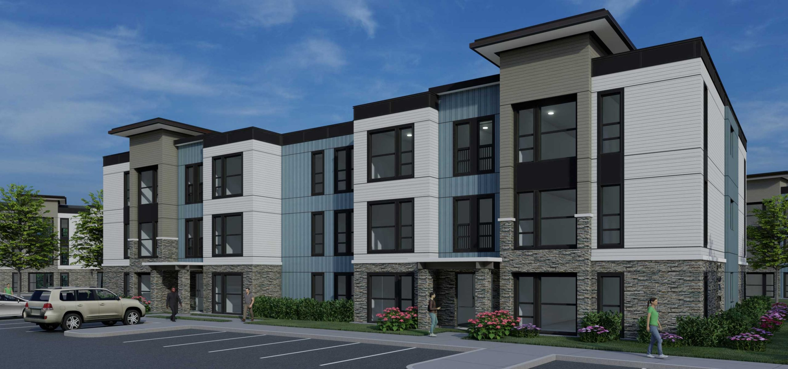 Front entrance rendering of Lemos Pointe garden style apartment complex