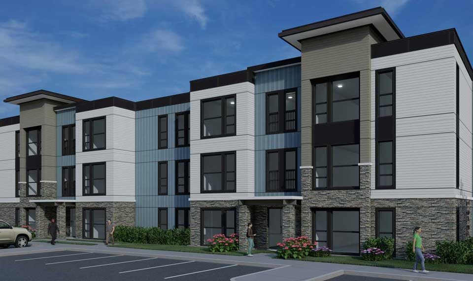 Lemos Pointe modular apartment Building B front entrance rendering