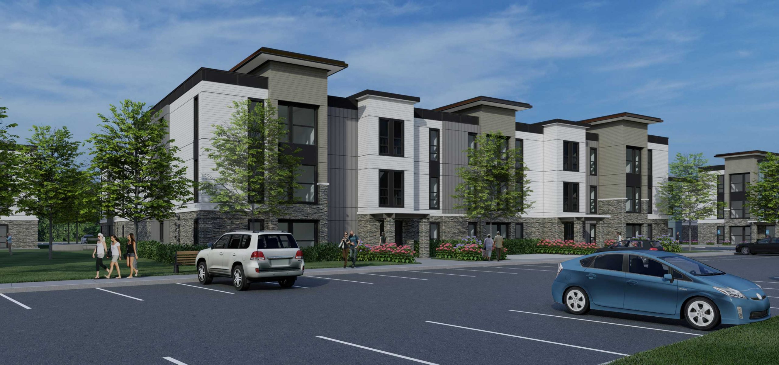 Front view rendering of Lemos Pointe apartment building